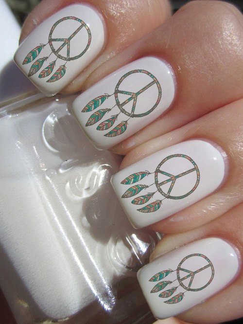Dreamcatcher Peace Sign Nail Decals 36 Ct.