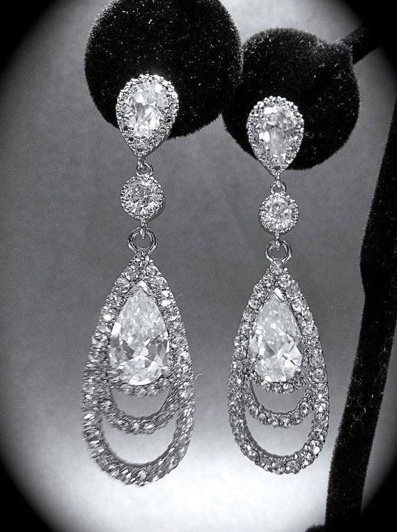 Rhinestone earrings  Long  Cubic Zirconia  by QueenMeJewelryLLC, $52.00