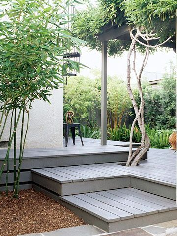 Punctuate the Surface  Cut a hole near an edge of the deck and plant your favorite flowers or small trees so they can grow up through the boards.: