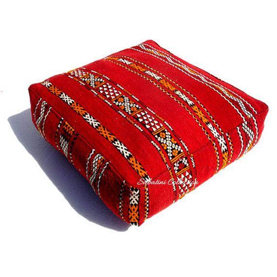 Large  Hajar Kilim Floor Pouf  Moroccan Pouf by SabatiniCollection, $95.00