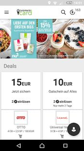 Cashback App im Play Store mit Cashback Card operated by Lyoness