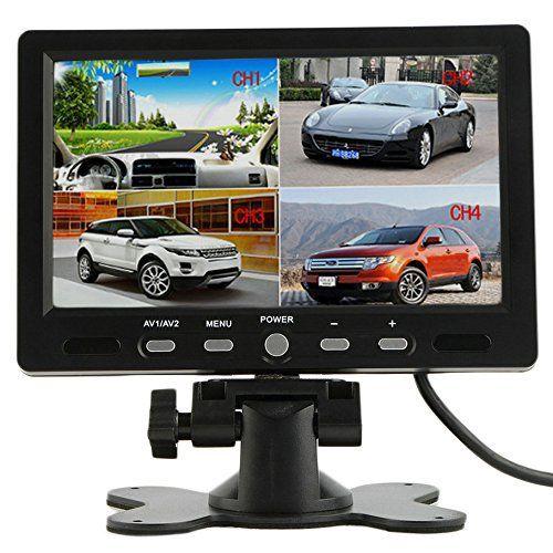 crewpros (TM) 17,8cm 4Split Quad TFT écran LCD DC 12V Voiture arrière vue caméra de recul Moniteur appuie-tête pour DVD Hot Vendre:…