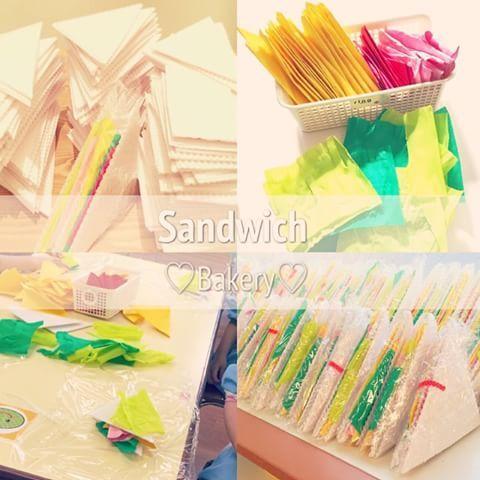 * サンドイッチも出来上がり、あさって開店♪ #お店屋さんごっこ #パン屋さん #パン #手作り #bakery #sandwich #サンドイッチ #具材 #製作 #保育 #大量生産 #品物作り