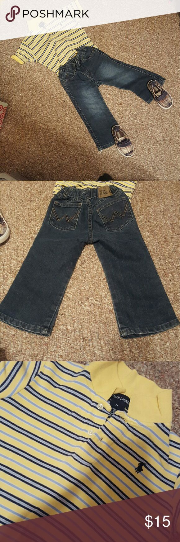 2t boy bundle Classics by buster brown shoes sz 7. Signs of wear but still in veey good shape Ralph lauren yellow, navy blue, dark blue and white striped top, 3 buttons, collar 2t Wrangler jeans 2t Matching Sets
