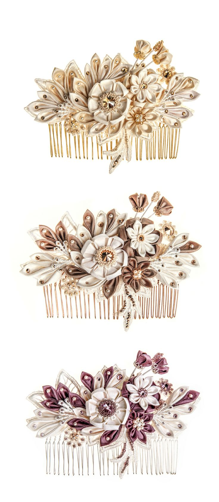 Maia floral bridal headpiece in three colour combinations. What's your fave?