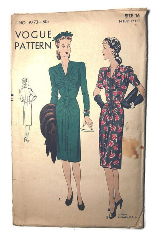 1950's Vogue Pattern 9773  One Piece Dress by SewSymple on Etsy