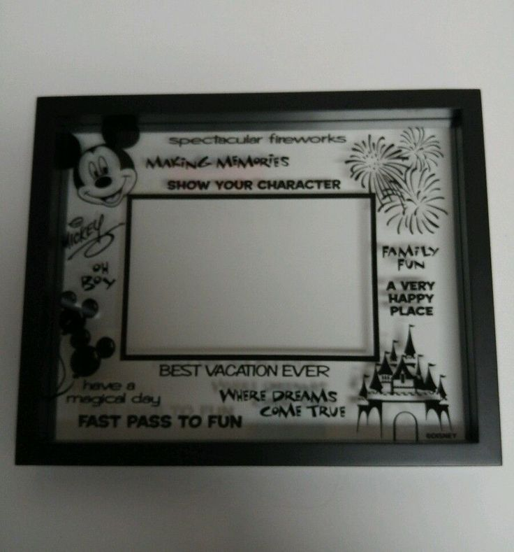 Disney Picture Frame Vacation Photo Character Magical Family Fun Glass 4X6 Black