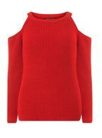 Womens Red Cold Shoulder Jumper- Red