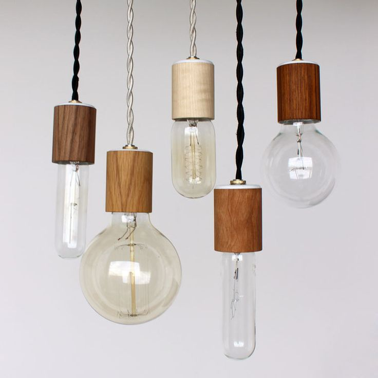 Wood veneered pendant light with bulb. $40,00, via Etsy.