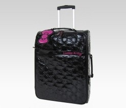 An image of Hello Kitty Black Rolling Luggage: Embossed