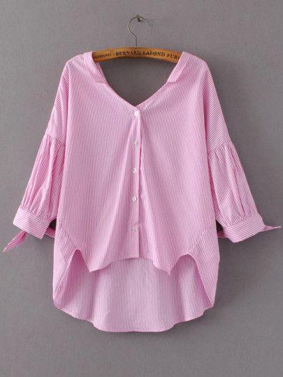 Розовая асимметричная блуза в полоску