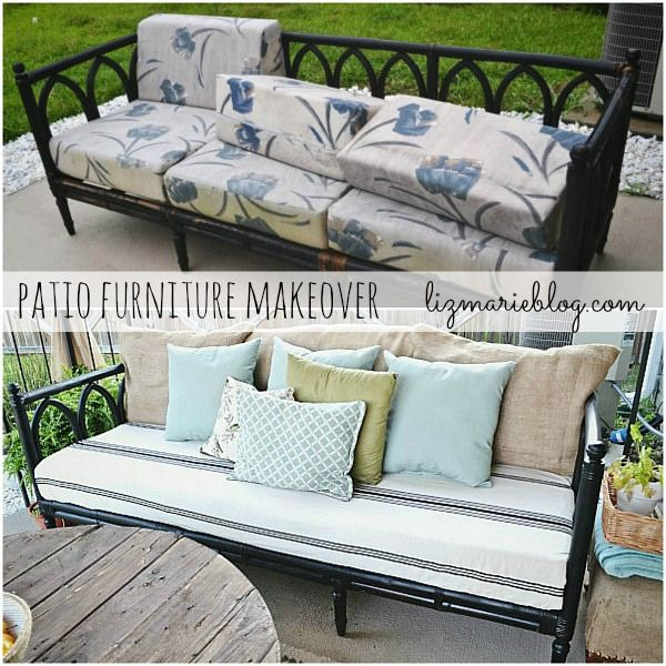 Patio furniture makeover - such a great idea to use a tablecloth to cover the seat cushion!