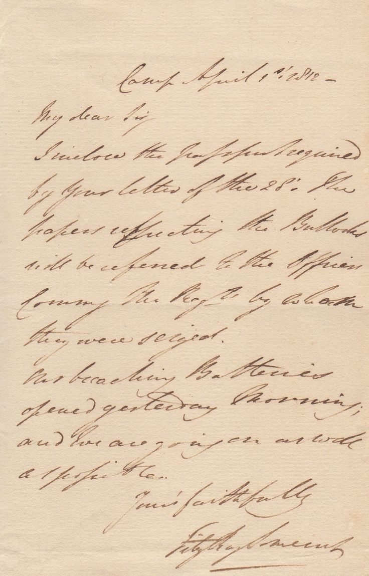 RAGLAN LORD: (1788-1855). British Army Officer, Military Secretary to the Duke of Wellington. Commander of the British troops in the Crimea during the fateful Charge of the Light Brigade at the Battle of Balaclava. A.L.S., Fitzroy Somerset, one page, 8vo, n.p. ('Camp'), 1st April 1812, to a Gentleman.