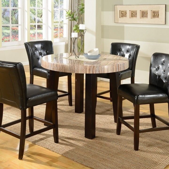 Misha 5 Piece Counter Height Set In Espresso Finish By Crown Mark