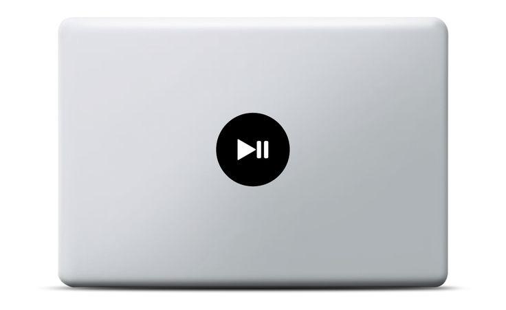Play Pause Taste MacBook Sticker #aufkleber #button #vinyl #leuchteffekt #decal #geschenk #geburtstag #musik #apple