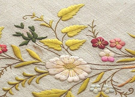 Em's Heart Antique Linens -Antique Society Silk Embroidered Monogrammed Show Towel