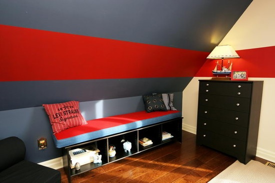 Kids slanted walls design pictures remodel decor and ideas page 2 for the home for Ohio state bedroom paint ideas