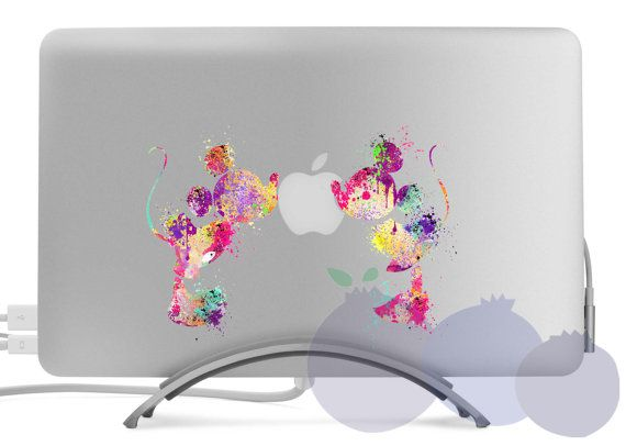 Watercolor Disney Mickey Love Macbook Skin Laptop Sticker