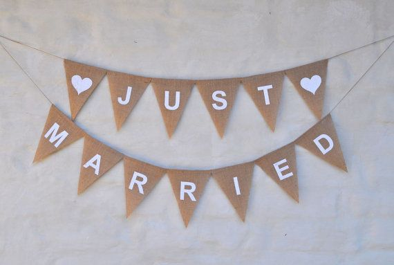 JUST MARRIED Hessian Burlap Wedding Celebration Party Banner Bunting Decoration white text  white heart photo prop