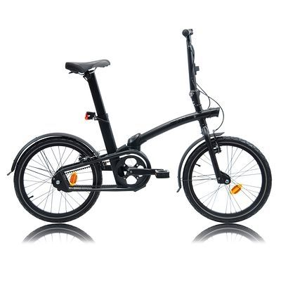 Bicicleta plegable Tilt 7 Blackout. Concebida para desplazamientos urbanos rápidos, combinados con otros medios de transporte. ¡Depurada, dinámica y salvaje! Transmisión por correa, solo 2 velocidades que cambian automáticamente a 19 km/h. #Bike #Btwin #Tilt #Decathlon