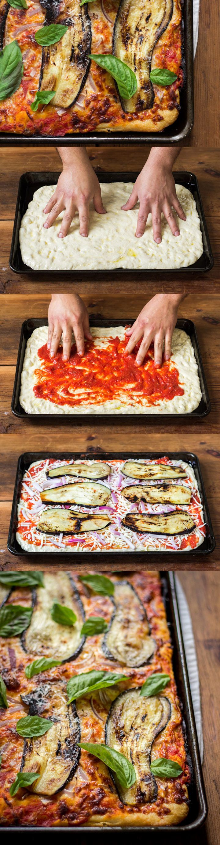 Sicilian Pizza with Eggplant - a classic Sicilian-style pan pizza with seared eggplant, red onions, and basil #pizzaweek