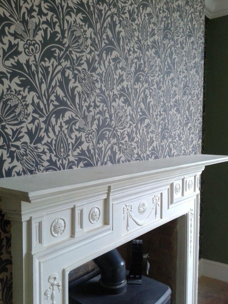 William Morris Thistle Wallpaper Black On Linen On