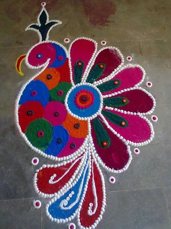 Beautiful colors Diwali RangoliEasy Rangoli Designs