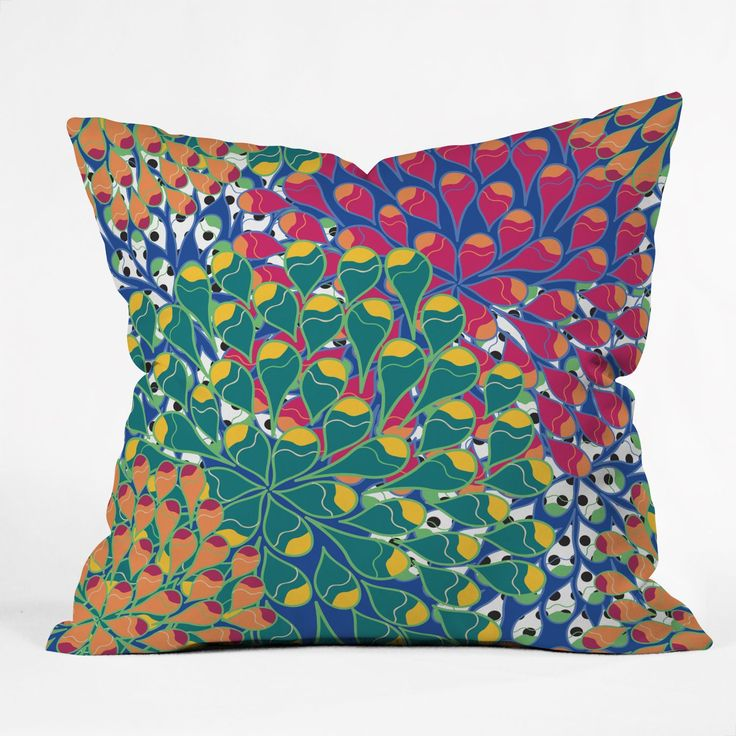 Deny Designs Juliana Curi Flower Dots 2 Throw Pillow (20 x 20 - Large), Multi (Polyester, Graphic Print)