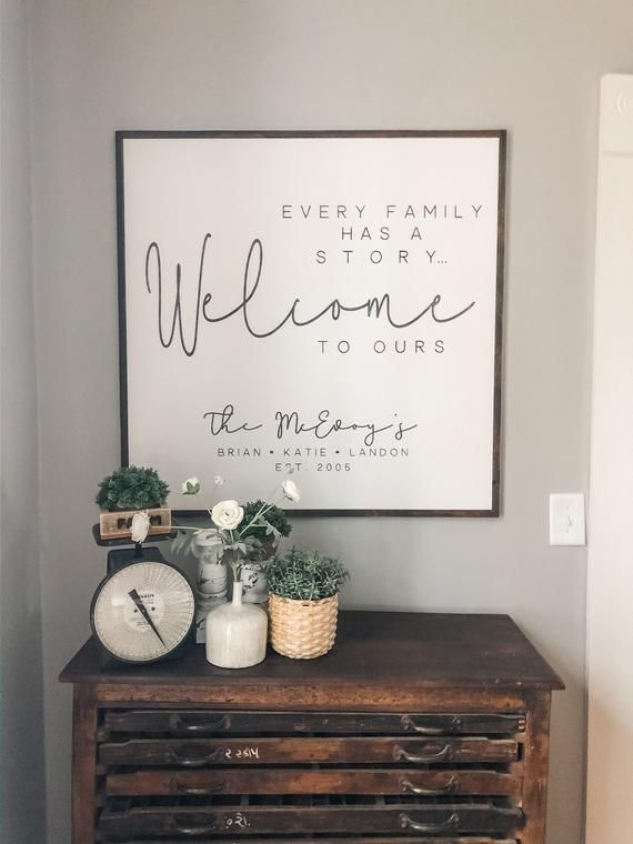 Every Family Has A Story Welcome To Ours Established Sign Etsy Home Decor Signs Last Name Signs Name Signs