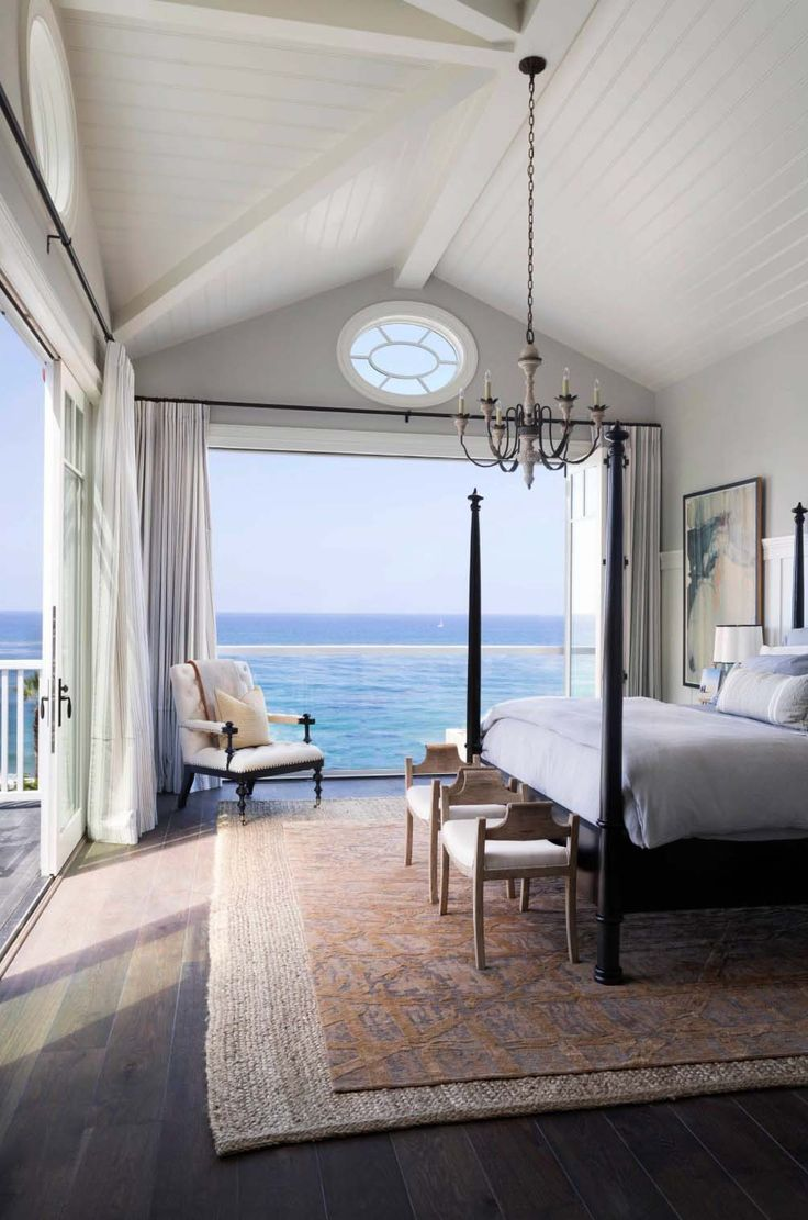 Beach bedroom with vaulted ceilings and ocean view