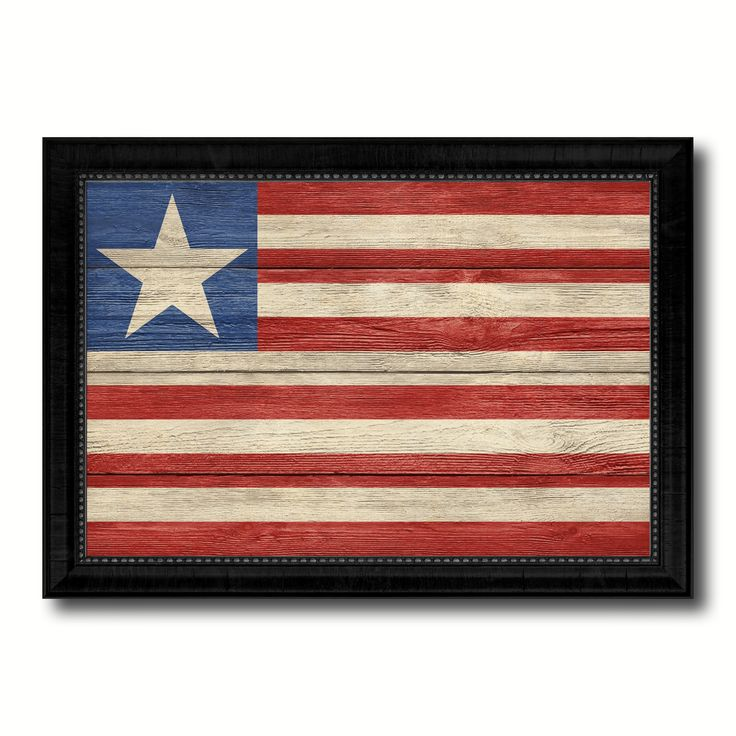 Liberia Country Flag Texture Canvas Print with Black Picture Frame Home Decor Wall Art Decoration Collection Gift Ideas