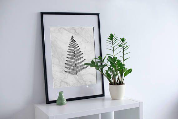 Botanical Poster Fern on Marble Background Printable