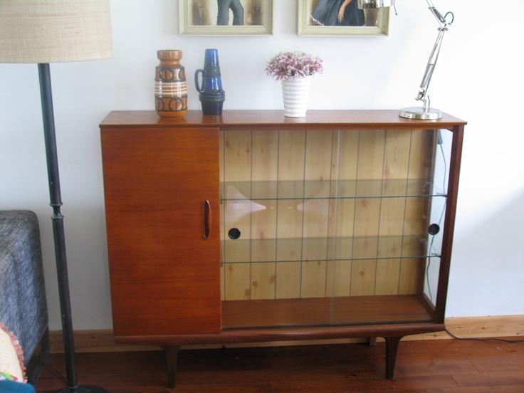 mid century teak display case bookcase with sliding glass doors
