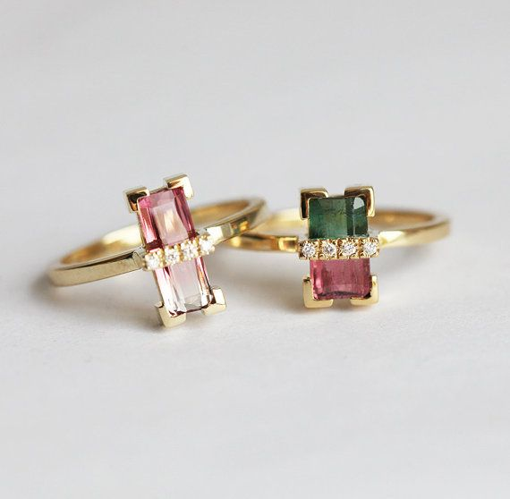 One of a kind, beautiful handmade Diamond and bi-colour Tourmaline ring in 18k yellow gold. This ring is available only in 18k yellow gold. Watermelon tourmalines available - please see last picture. Please select the one which you want at the drop down menu. Tourmalines listed on the left are all VS clarity. Blue - green ones are also VS clarity. Product details Gemstone: Watermelon tourmaline Quality: VS clarity / SI Treatment: None. Shape: Baguette Pave diamonds: VS clarity, G color, ...