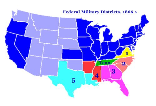 With the Radical Republicans fully in control of Congress after the mid-term elections of 1866, they quickly passed the Military Reconstruction Acts of 1867. These acts divided the south into five military districts. Each district was placed under military leadership and new elections were held with voting only allowed by Congress' approved voters, which were mostly former slaves. Each state was also required to ratify the 13th and 14th Amendments after drafting new state constitutions.