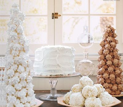 Domino Magazine party idea: Cakes Desserts, Christmas Baking, Desserts Buffet, White Desserts, White Christmas, Holidays, Desserts Bar, Christmas Treats, Desserts Tables