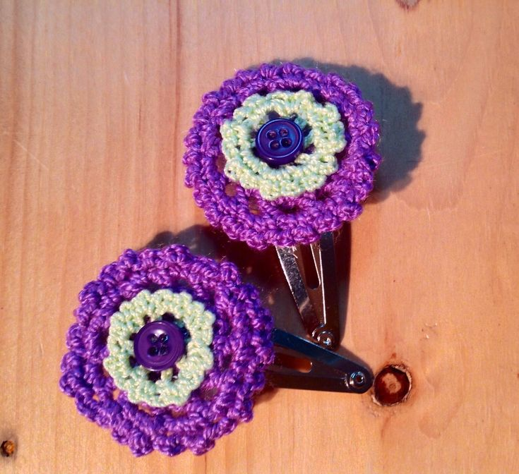Crochet Hair clip, snap barrette, crochet flower hair clip, children & baby 2 flower hair accessories, gift for girl, school day gifts by MadeByGrandmasHands on Etsy
