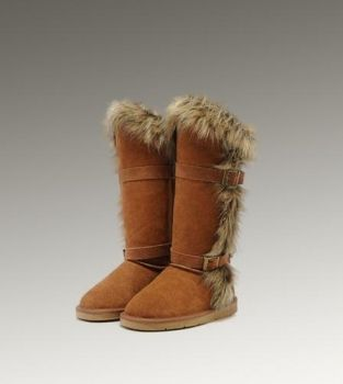 UGG Fox Fur Tall 1984 Chestnut Boots For Sale In UGG Outlet Save morethan 100 Free Shipping Free Tax Door to door delivery