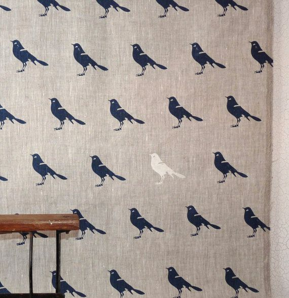 Blue bird  linen hand screen printed linen  by CelinaMancurti, $28.00