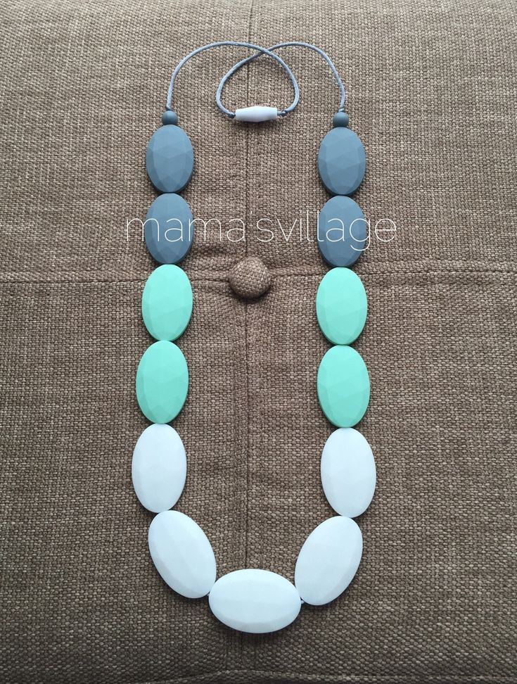 Silicone Teething Necklace / Silicone Nursing Necklace - Olivia (Tricolor) by MamasVillage on Etsy https://www.etsy.com/listing/221653933/silicone-teething-necklace-silicone