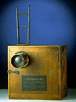 Front view of Lumiere Cinematographe camera-projector
