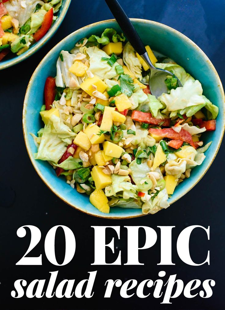 Craving fresh, healthy, delicious salads? Find 20 epic salad recipes here! All vegetarian; many are vegan and gluten free. Enjoy as-is or add extra protein.