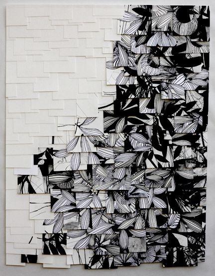 Raymond Saá  charcoal on sewn paper      Manipulated pattern, simple b+w, 'random' placing, layers