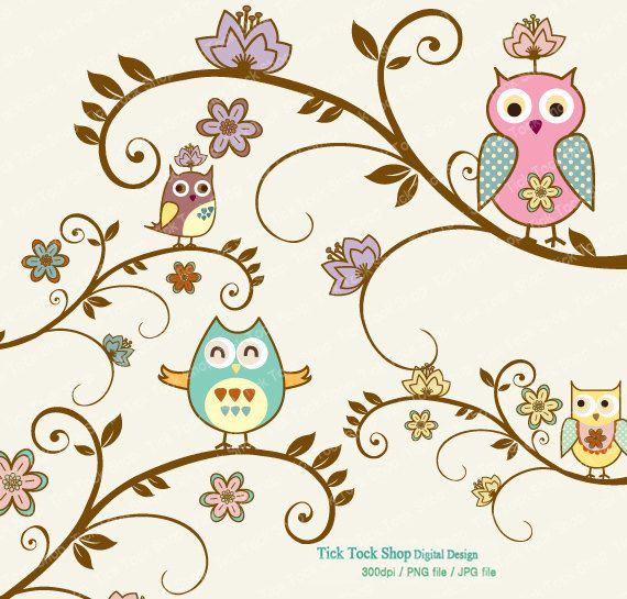 owl clip art with trees | Oriental Style Tree and Owl SET ...