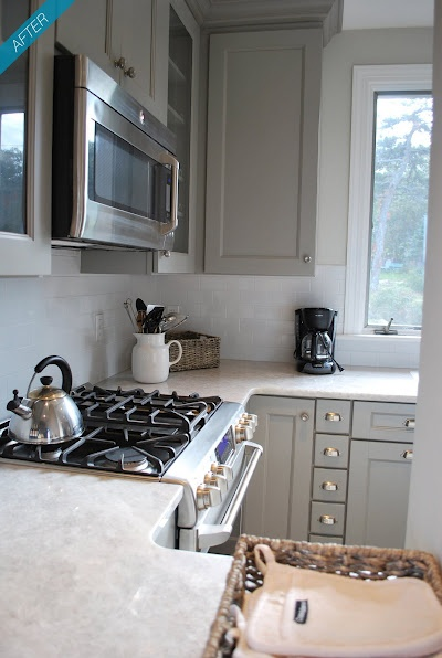 gray cabinets instead of white (for messy little hands)