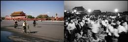 Magnum photos- Patrick Zachmann. CHINA. City of Beijing. Tiananmen square. October 2005 and May 1989. A great example of the Full and Empty concept.