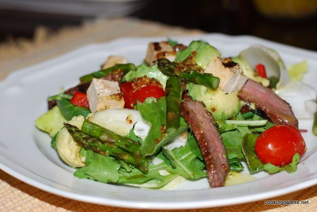 green salad with steak tofu asparag and avocado (9)