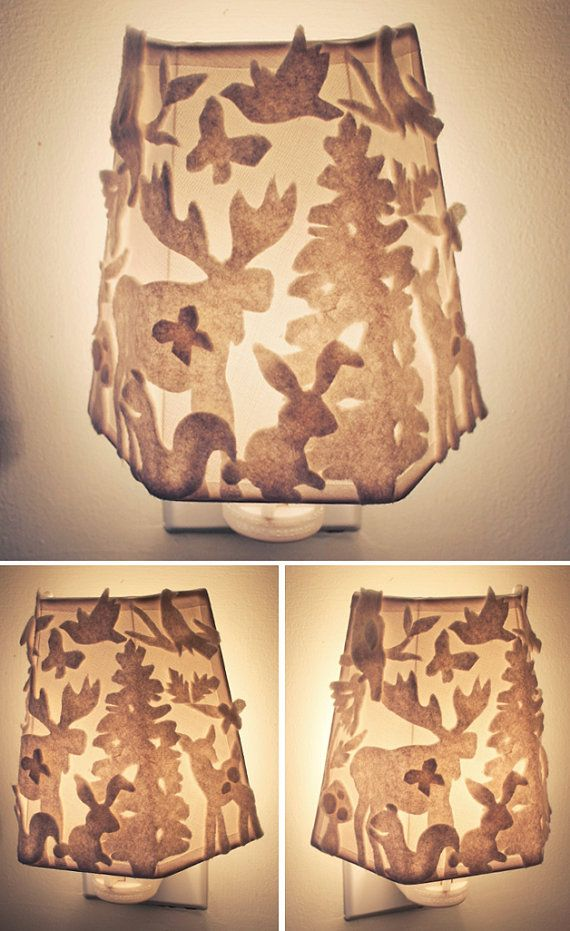 White Felt Night Light, Woodland Scene, Forest Animal Sillouette , Whimsical Felted Light Fixture, Textural Lamp Shade, Handmade Night Light by OBSESSIVISION, $36.00