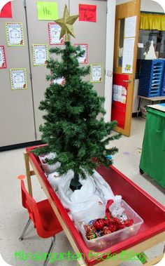 DRAMATIC PLAY- Decorate a Christmas tree at centers during Xmas. Put a bucket full of ornaments, stars, garland, etc. that students can use to decorate again and again.