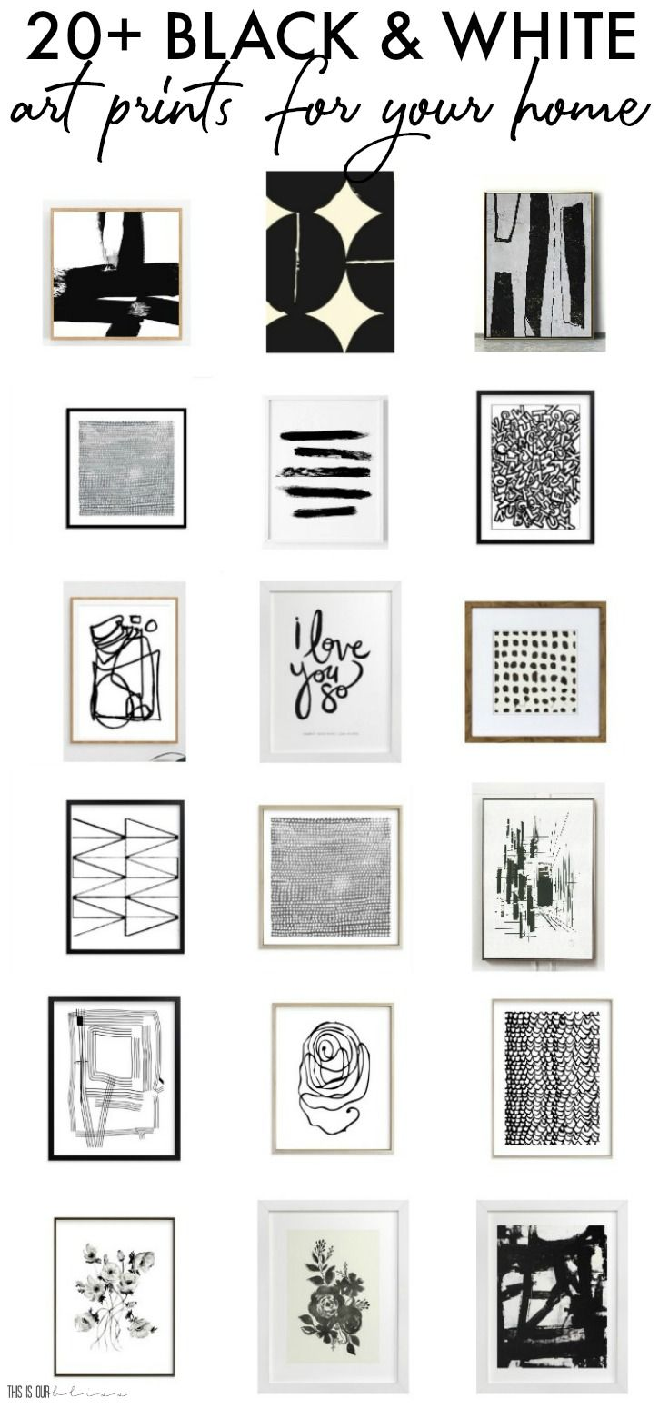 20 Bold Black And White Art Prints For Your Home This Is Our Bliss White Wall Decor Black And White Wall Art Gallery Wall Printables Black and white framed art